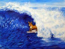 Basenji dog art surfing art print animals impressionism artist 11x14