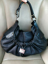 Burberry Prorsum Warrior Grain Leather Black Satchel Bag Purse Hobo Drawstring