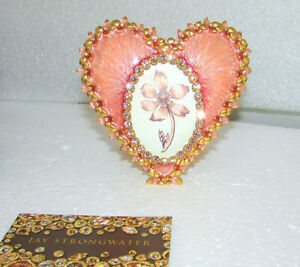JAY STRONGWATER DOMINIQUE HEART PINK AZALEA JEWELED SWAROVSKI CRYSTAL FRAME