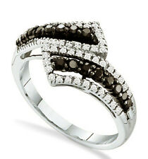 Black Diamond Ring 10K White Gold Black & White Diamond Bypass Band .54ct