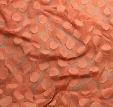 """PEACH POLKA DOTS Stretch LACE Fabric - 54"""" by the yard"""