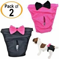 PACK of 2 Dog Diapers Female Cat for SMALL and LARGE Pets 100% Cotton Pink Black