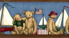 Plush Teddy Bear Sailing Boat Flag Blue Brown Nautical Kid's Wallpaper Border