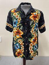 Vintage Kennington Mens Size Lg Black Hawaiian Hibiscus Short Sleeve Shirt Chrty