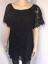 NEW Black Lace Tunic Stretchy Short Sleeves Soft Lined Soft Feel Long One Size