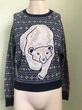 Urban Outfitters Cooperative Polar Bear Jumper XS 8 Christmas Scandi