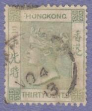 Hong Kong Scott #47 used 30c gray green Queen Victoria 1891 wmk 2 CA cv $26