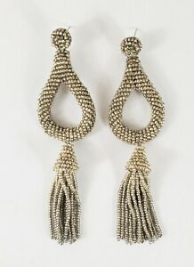 Anthropologie Silver Beaded Tassle Earrings