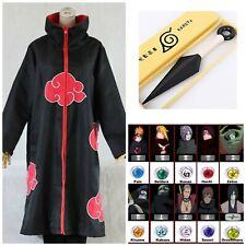 Naruto Akatsuki Cloak Robe Itachi Costume Pain Cosplay Headband Kunai Anime