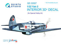 Quinta QD32007 1/32 Yak-3 3D-Printed & coloured Interior (for Special Hobby kit)