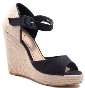 Damen High Heels Sandalen Gr.40 Sandaletten Keilabsatz Bastabsatz Schwarz