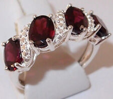4-Stone Orissa Rhodolite Garnet ring, 4.0ct, in Sterling Silver, Size P.