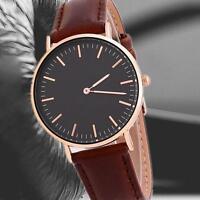 Luxury Women Men Quartz Analog Watch Rose Gold Leather Strap Wrist Watch Gift GA