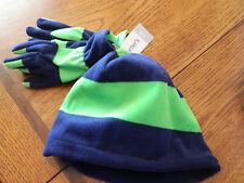 NWT Carters boy navy & green striped gloves w/matching skull cap; size 4-8