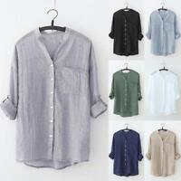 Women Stand Collar Solid Long Sleeve Shirt Casual Blouse Button Down T Shirt Top