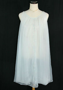 Vtg 1960's Vanity Fair Floral Embroidered Chiffon Lingerie Chemise Nighty Blue S