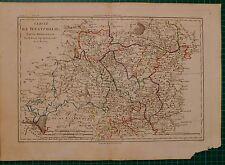 1787 DATED RIGOBERT BONNE MAP ~ WESTPHALIA SOUTHERN PART HAND COLOURED