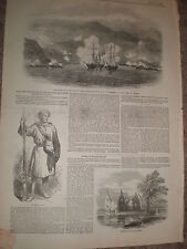HMS Polyphemus rescues ship Three Sisters from Rif pirates 1848 old print