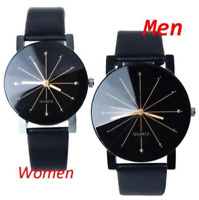 Leather Women Men Stainless Steel Sports Watch Fashion Analog Quartz Wrist Watch