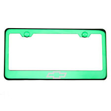 Green Chrome License Plate Frame T304 Stainless Steel Laser Engraved Chevy Logo