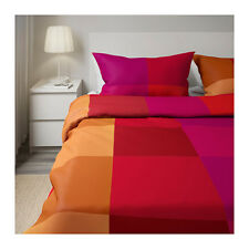 "IKEA Brunkrissla""Red""Pink Orange Color Block Full/Queen Duvet Cover Pillowcase-2"