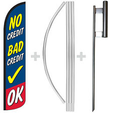 No Credit Bad Credit OK 15' Tall Windless Swooper Feather Banner Flag & Pole Kit
