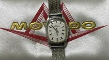 Rare 1950s Movado Stainless Steel Lady's Watch In Its Original Woven Band & Box