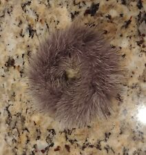 GENUINE SILVER BLACK & WHITE MULTICOLOR MINK FUR HAIR BAND SCRUNCHIE