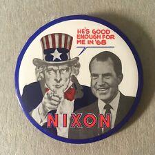President Richard Nixon 1968 Political Campaign Button Uncle Sam