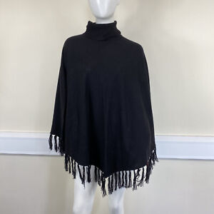 Decode Ladies Black Fine Knitted Roll Neck Tassel Edge Jumper Poncho One Size