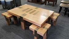 TraditionalMoroccan 5 Piece Gatherers Table & 4 Stool Seats Gold Etch & Timber