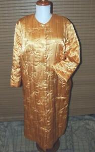 Vintage Quilted Satin Robe Tangerine Size Large EUC Slippery Satin Finish