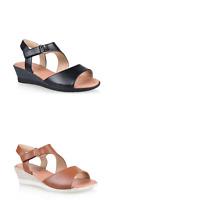 Womens Bellisimo Jean Flat Wedge Heel Sandals Adjustable Strap Comfortable Shoes