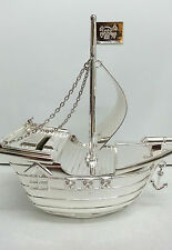 Brand New Silver Plated Pirate Ship Money Box Decorative Gift