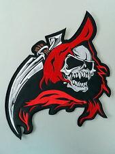 "Red Hell Demon Gun Reaper Biker Rider Big XL Embroidered Back Jacket Patch 12.4/"""