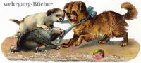 Vintage Victorian die cut paper scrap, playing dogs from ca. 1880