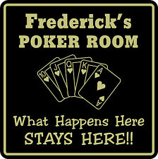 Personalized Poker Game Room Bar Beer Cards Holdem Gift Sign #6 Custom USA Made