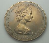 1973 BRITISH VIRGIN ISLANDS COPPER NICKEL 50 CENTS  BU UNC COLOR TONED COIN