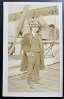 Mint USA RPPC Real Picture Postcard Early Aviation Biplane Pilot