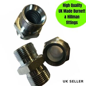 """Hydraulic Adaptor Union joiner fitting BSP 1/4 to 1"""" Equal Unequal UK made"""