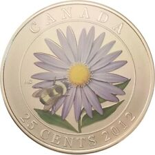 2012 Canada 25 CENTS ASTER w/  BUMBLE BEE Specimen Coin & CoA