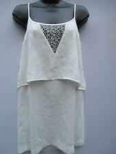 MNG Suit Collection Women's White w/lace Top spaghetti strap top size XXS   g7