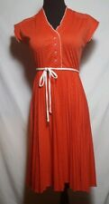 Vintage 50s Pin Up Rockabilly Dress Red White Polka Dot Swing Burlesque Pleated