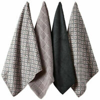 Ladelle Carver Charcoal 4 Pack Super Absorbent Quick Drying Microfibre Tea Towel