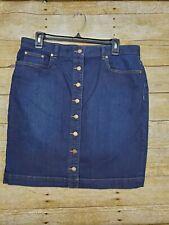 Chaps Denim Button Front Skirt Womens Sz 10 Blue Jean Stretchy Knee Length Dark