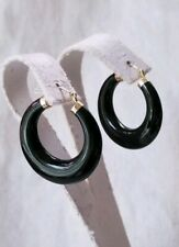 "Ross Simons 14k Yellow gold Black Onyx 1"" puffy hoop earrings"
