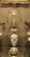Bohemian Hand Painted Cased Cut to Clear Glass Lamp GWTW Etched Globe & Chimney