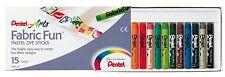 PentelArts Stoffmalkreide PTS, 15 Farben im  Karton Etui