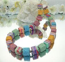 Halskette Kette Lava Kugel rot grün blau gelb mint lila mehrfarbig bunt 277iii