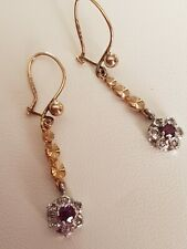 9ct Hallmarked Gold Ruby and Diamond Cluster Drop earrings Vintage